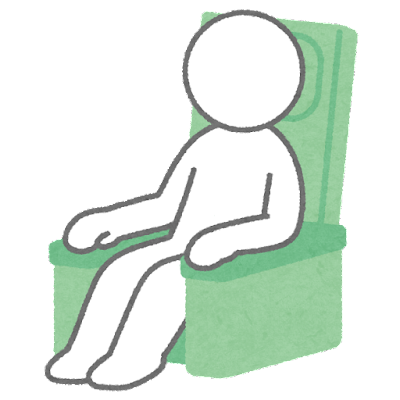 リクライニングシートに座る人のイラスト(棒人間)