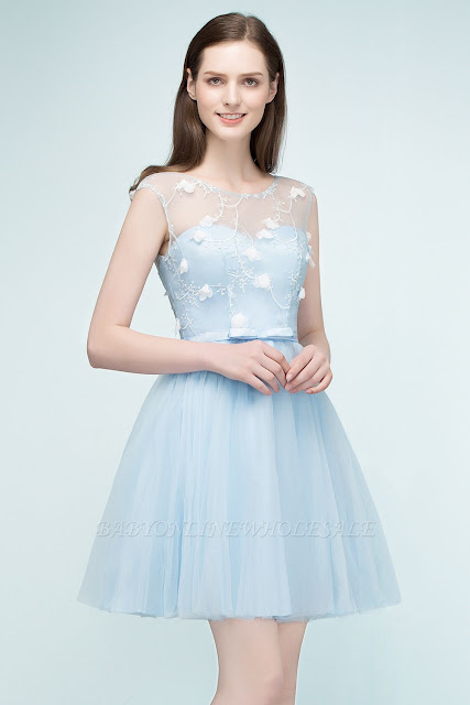 A-line Short Appliques Tulle Homecoming Dresses with Sash
