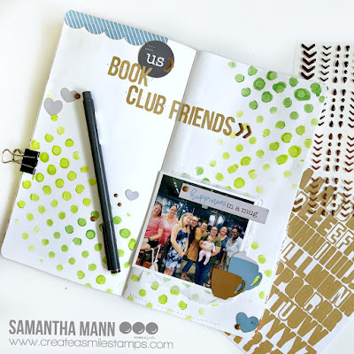 Book Club Traveler's Notebook Spread by Samantha Mann for Create a Smile Stamps, #createasmilestamps #bookclub #mixedmedia #travelersnotebook