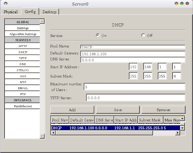 dhcp server cisco packet tracer