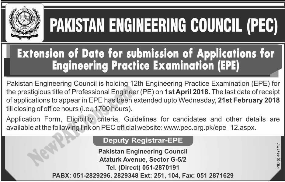 Pakistan Engineering Council PEC, Extension Date of Apply for Professional Engineer (PE)