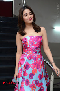 Actress Tamanna Latest Images in Floral Short Dress at Okkadochadu Movie Promotions  0017.JPG