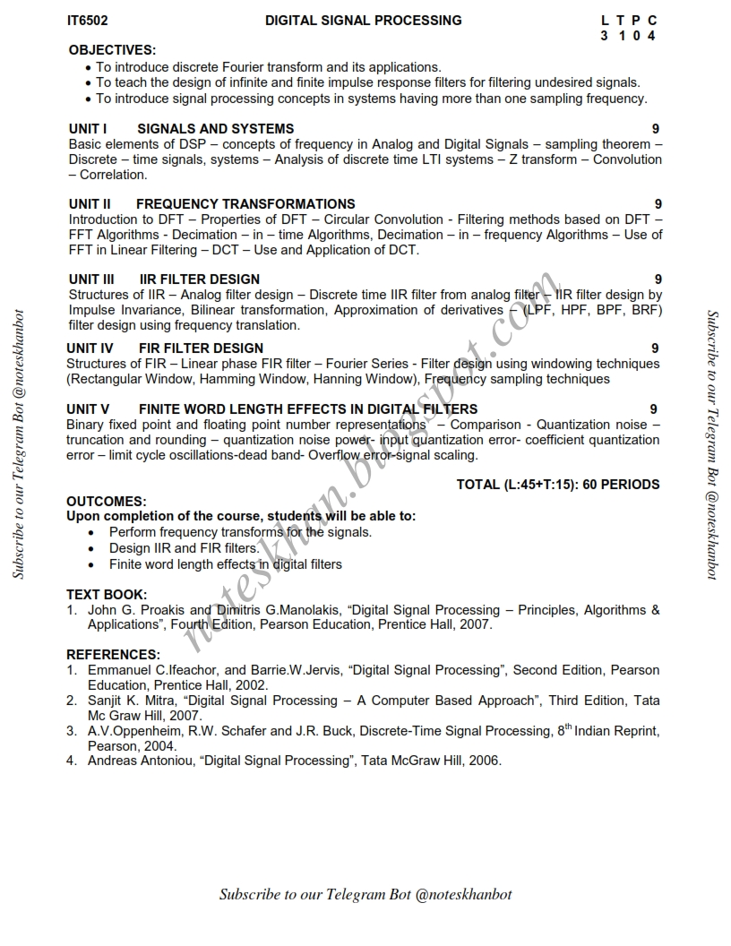 IT6502 DIGITAL SIGNAL PROCESSING Syllabus Semester V IT