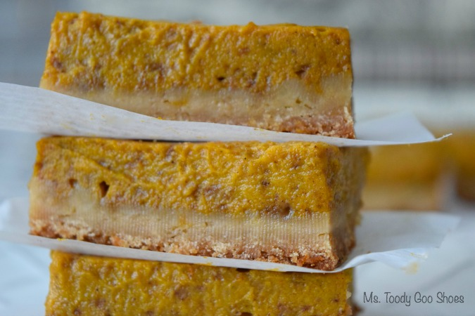 Pumpkin Pie Bars - a new twist on pie. All of the deliciousness of pie, but none of the hassle of rolling out dough. So easy to make! | Ms. Toody Goo Shoes #Thanksgiving