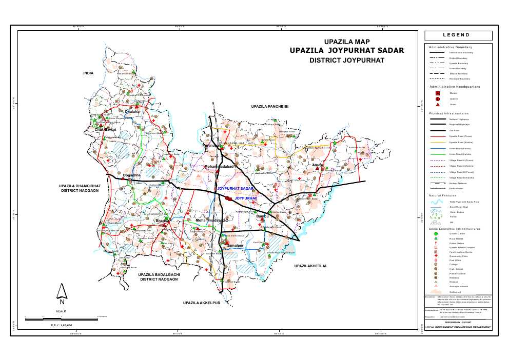 Joypurhat Sadar Upazila Map Joypurhat District Bangladesh