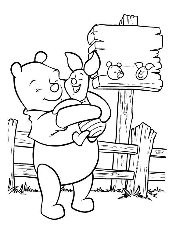 Tranh cho bé tô màu gấu Pooh 36