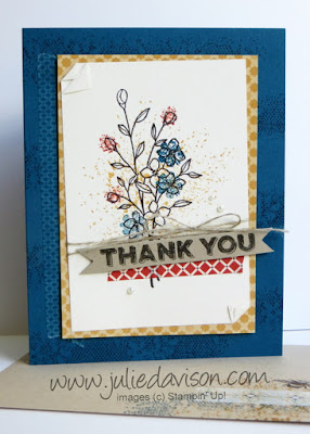 Stampin' Up! Touches of Texture Thank You Card -- make & take #stampinup www.juliedavison.com