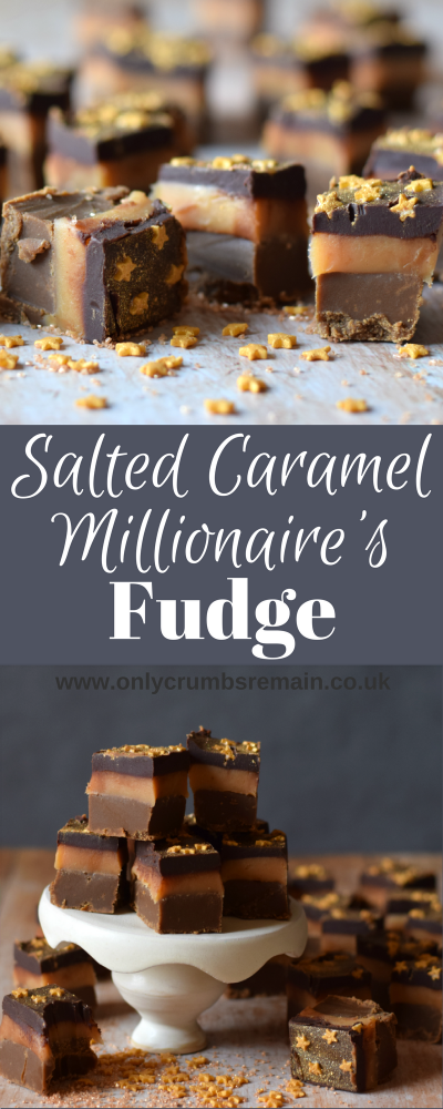 This indulgent Salted Caramel Millionaire's Fudge is inspired by the popular traybake Millionaire's Shortbread.  A layer of dark fudge replaces the shortbread.  The confectionery is finished with a sprinkling of edible gold glitter and gold stars.
