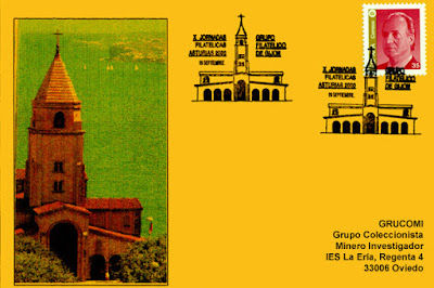 Tarjeta del matasellos delas X Jornadas filatélicas de Gijón, homenaje a la iglesia de San Pedro