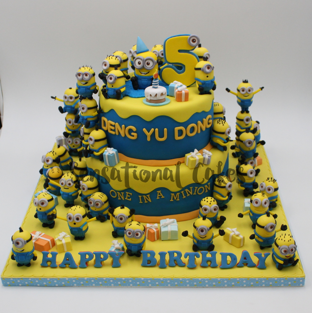Minions 2 Tier Theme Boy Birthday Cake Singapore MinionCake