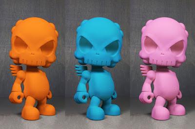 ToyCon UK 2016 Exclusive Pink, Orange & Blue The Skullhead Blank Resin Figure Colorways by Huck Gee