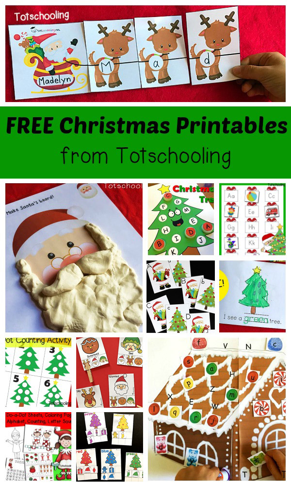 FREE Christmas printables for toddlers, preschool and kindergarten. Large collection of activities including Elf on the Shelf, playdough mats, do-a-dot marker sheets, q-tip painting, tracing, reading, writing, coloring, matching, sorting, cutting and more!