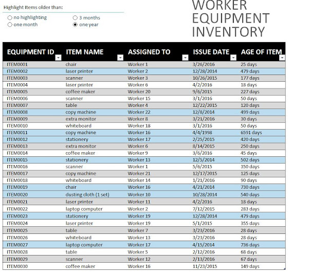 Download free Equipment Inventory Templates