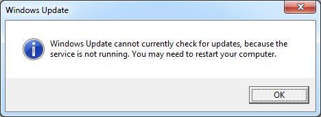 Windows Update Service tidak berjalan di Windows