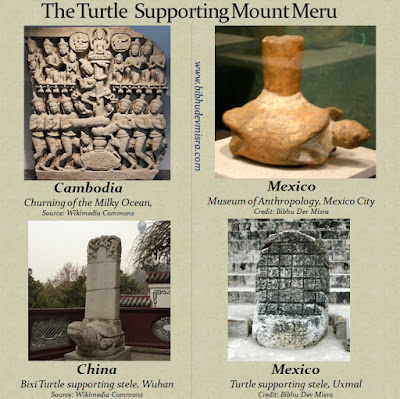 The Turtle supporting a mountain or pillar on its back, in Asian and Mesoamerican art