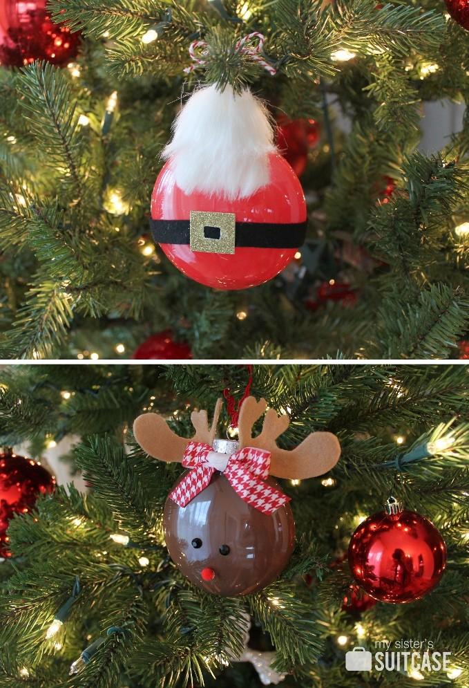 Rudolph Santa Painted Ornaments