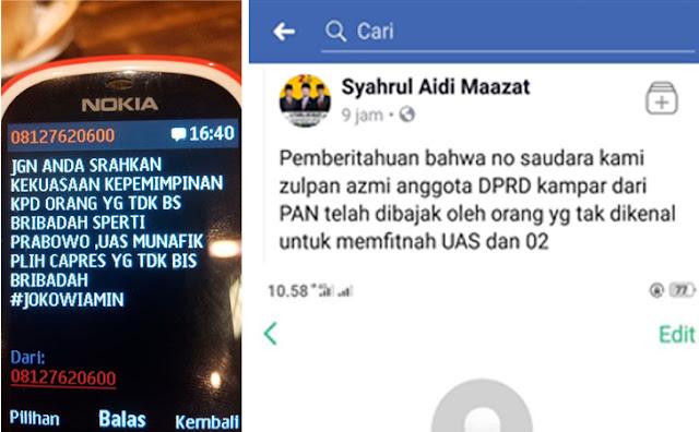 Nomor Sekretaris MUI dan Legislator Kampar Dibajak untuk Fitnah UAS dan Prabowo-Sandi