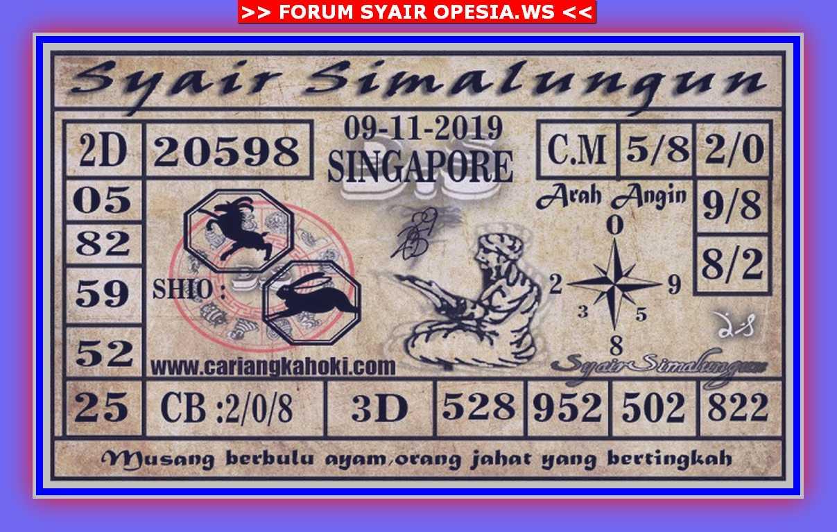 Kode syair Singapore Sabtu 9 November 2019 55