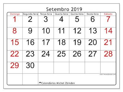 Calendário setembro/2019