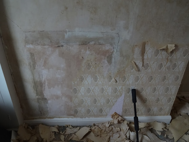plastered up old fireplace