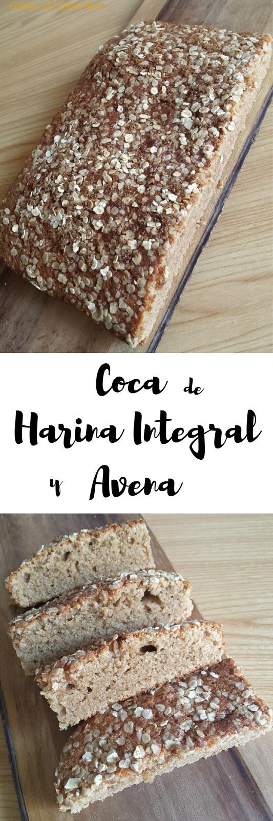 Coca, bizcocho, de harina integral y avena Game of Cakes Bcn