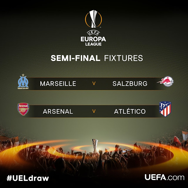Arsenal draw Atletico Madrid in the semi-final of the Europa League