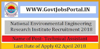 National Environmental Engineering Research Institute Recruitment 2018–Senior Technical Officer & Technical Assistant