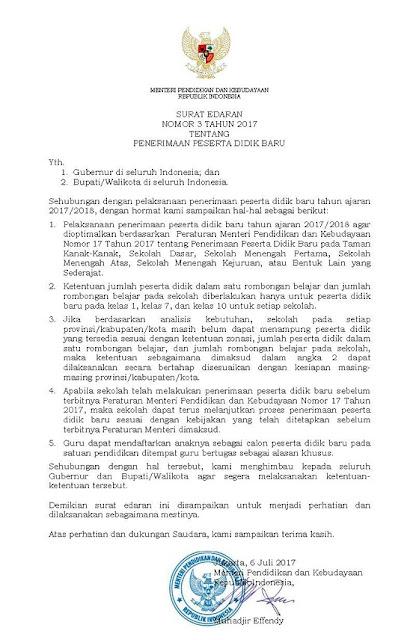 Surat Edaran Mendikbud Nomor 3 Tahun 2017 Tentang
