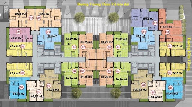 Mặt bằng tầng căn hộ điển hình tòa G4 G5 Five Star Kim Giang