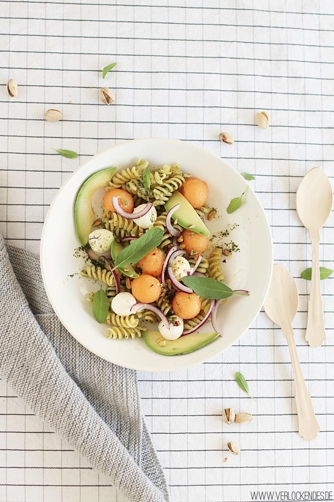 Salatrezept Nudelsalat Pastasalat Melone Mozzarella