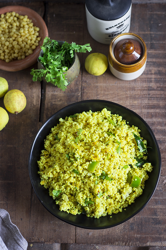 Indian style lemon rice made with little millets