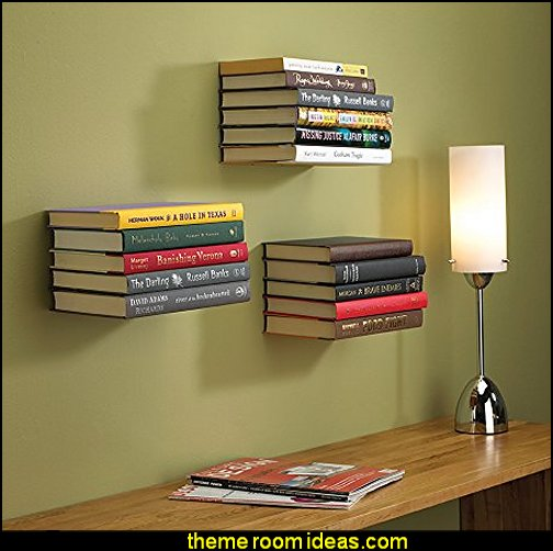 Floating Bookshelf  book themed decor - Bibliophiles decor - Book themed furnishings - home decor for book lovers - book themed bedroom -  Stacked Books decor -  Stacked Books furniture - bookworm decor -  book boxes - library furniture - formal study furniture - antique book decor -