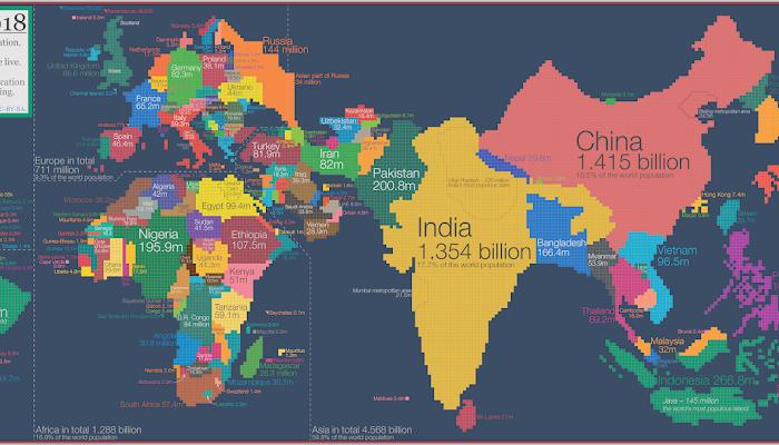 WORLD POPULATION MAP 2018