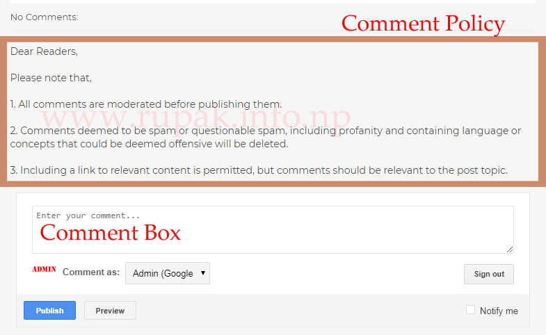 How to Add Comment Policy Above Comment Box of Blogger