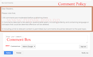 How to Add Comment Policy Above Comment Box of Blogger?