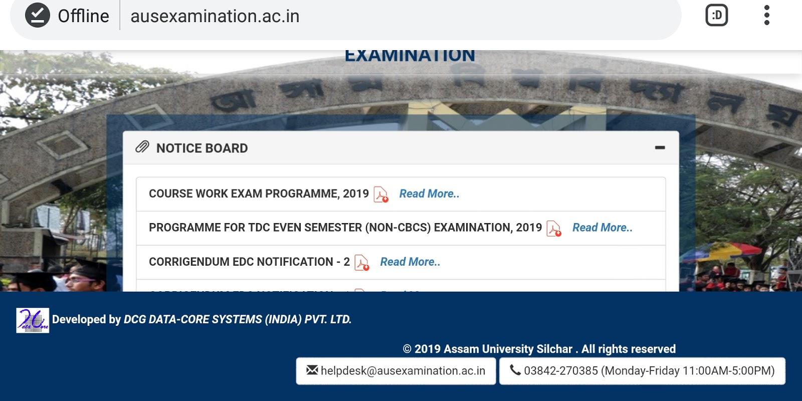 Assam University TDC Even Semester Exam Routine 2019, DOWNLOAD Exam