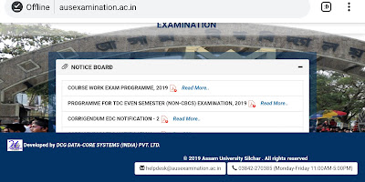 Assam University exam routine
