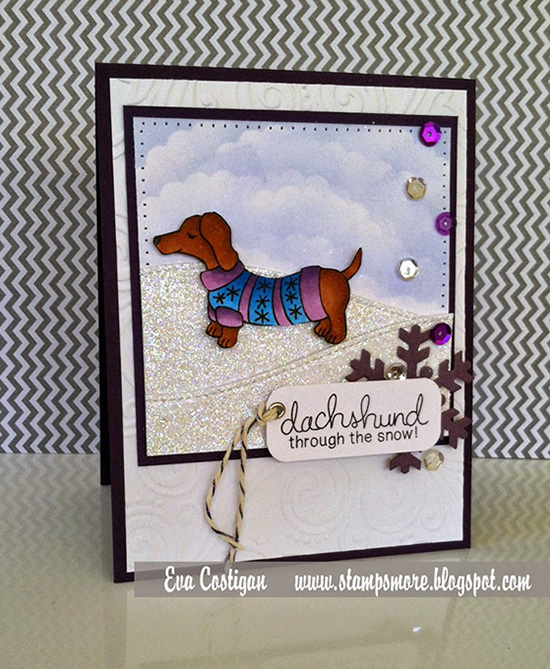 Dachshund through the snow doxie in Sweater card by Eva using Newton's Nook Designs Stamps