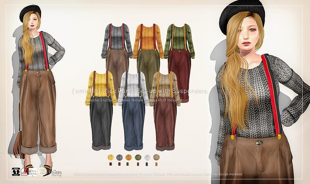 {amiable}WIde Pants Set-up with Suspenders@ N°21 February (50%OFF SALE).