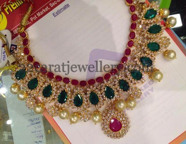 Opulent Ruby Emerald Bridal Necklace Jewellery Designs