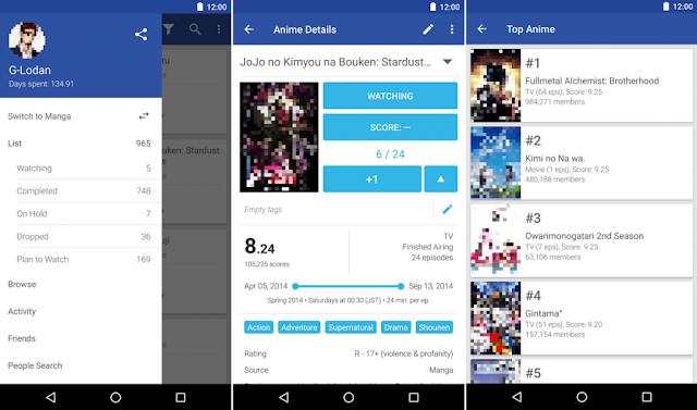 7 Aplikasi Terbaik untuk Menonton Anime di Android - 4.PocketMal