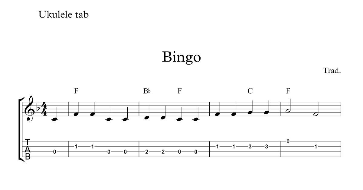 Bingo : Free easy ukulele tab sheet music