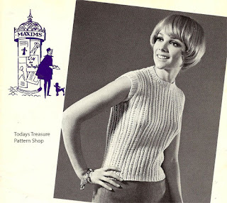 Knitted Ribbed Shell Pattern, Vintage 1960s