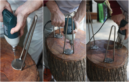 How to diy stump table 17 apart for Attaching hairpin legs