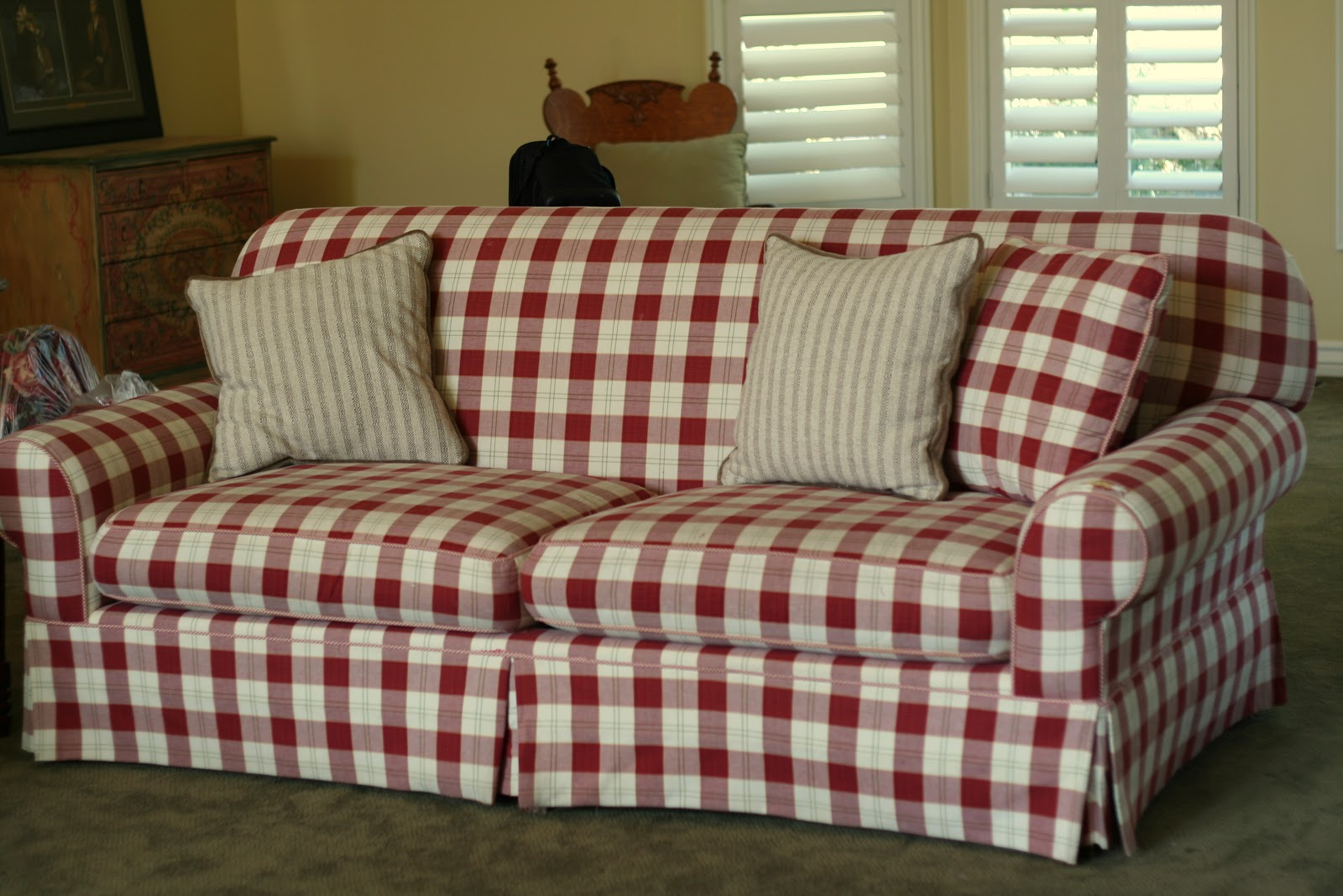 Country Plaid Sofa Sets Rumah Wooden Frame Bed Couches