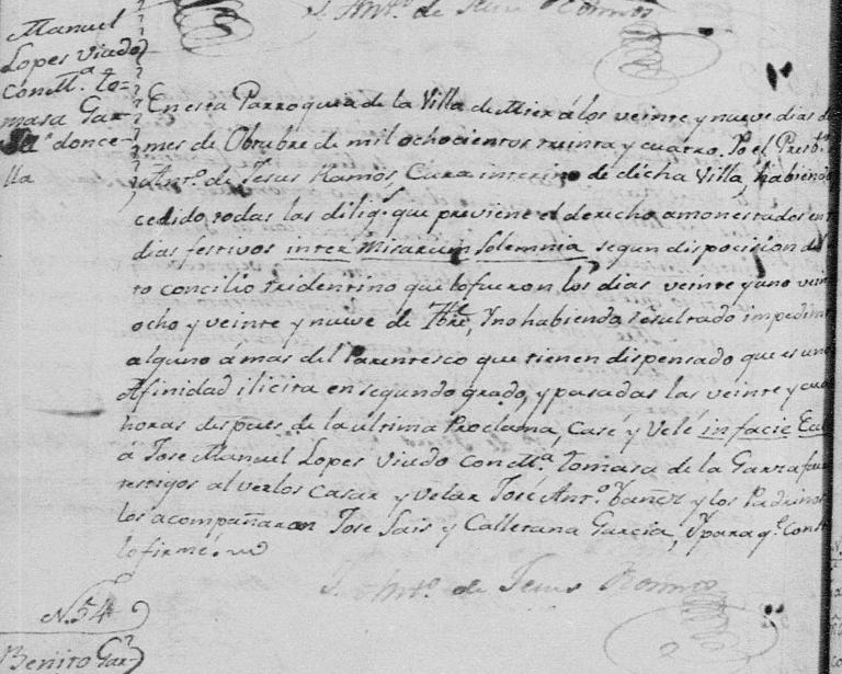 Marriage of Jose Manuel Lopez and Maria Tomasa de La Garza