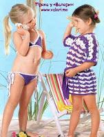 вязаный крючком детский купальник и халат