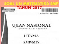 Download Soal UN Matematika SMP/MTs Tahun Pelajaran 2016/2017