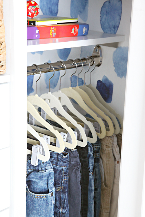 One of the biggest problems we had with the previous closet arrangement was that our son couldnt reach the top hanging shelf it was installed too high and