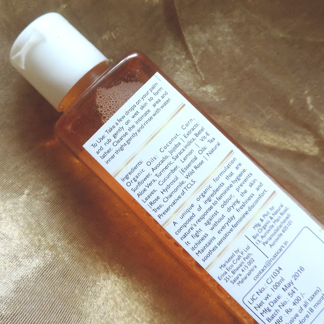 Rustic Art Beautiful Secret Organic Feminine Intimate Wash Review